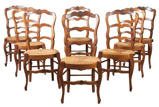 RUSH SEAT CHAIRS - LOLO FRENCH ANTIQUES SET OF EIGHT COUNTRY FRENCH RUSH SEAT CHAIRS