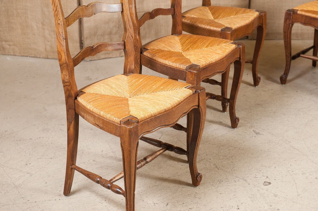 lolo french antiques set of six country french rush seat