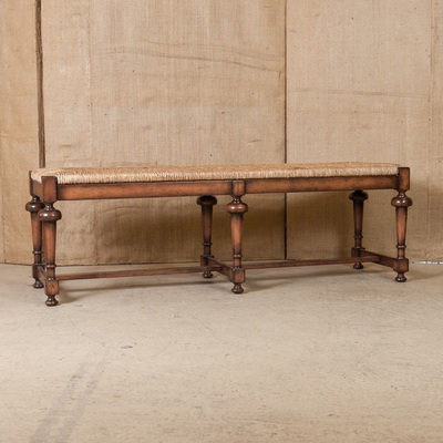 lolo french antiques french country rush seat bench lolo