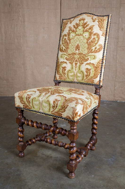 LOLO FRENCH ANTIQUES ANTIQUE FRENCH LOUIS XIII STYLE BARLEY TWIST DINING  CHAIRS, SET OF 12 - Lolo French Antiques et More - LOLO FRENCH ANTIQUES ANTIQUE FRENCH LOUIS XIII STYLE BARLEY TWIST