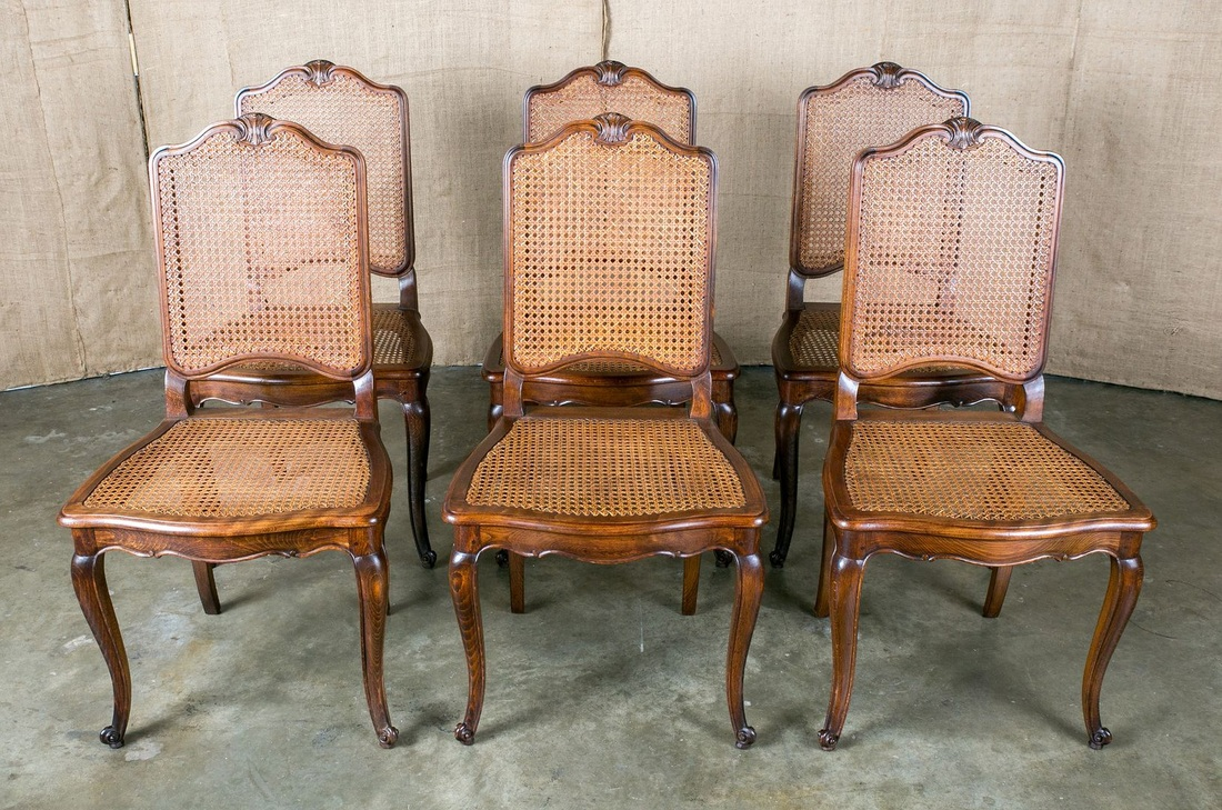 LOLO FRENCH ANTIQUES FRENCH LOUIS XV STYLE CANE DINING CHAIRS, SET OF 6    Lolo French Antiques Et More