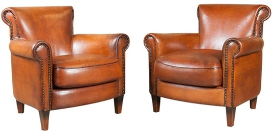 LOLO FRENCH ANTIQUES PAIR OF FRENCH ART DECO LEATHER CLUB CHAIRS   Lolo  French Antiques Et More