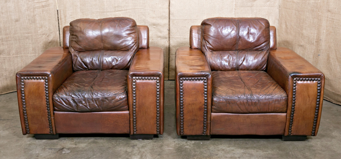 LOLO FRENCH ANTIQUES PAIR OF LARGE FRENCH LEATHER CLUB CHAIRS   Lolo French  Antiques Et More
