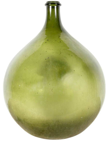 Lolo French Antiques et More Very Large 19th Century Handblown Green Glass French Demijohn BottleFrench