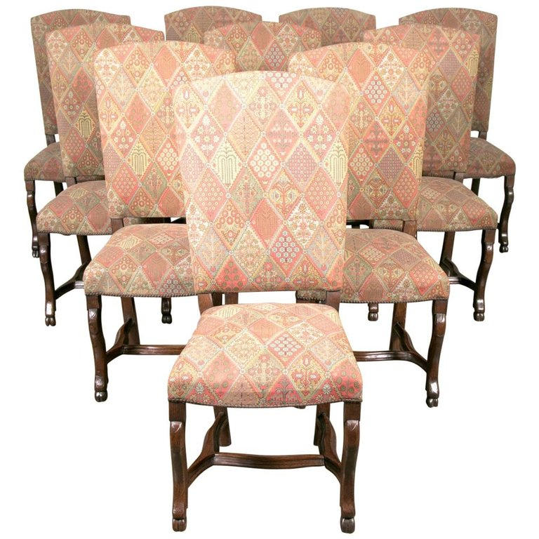 Lolo French Antiques Set Of Ten 19th Century French Louis XIV Style Dining  Chairs
