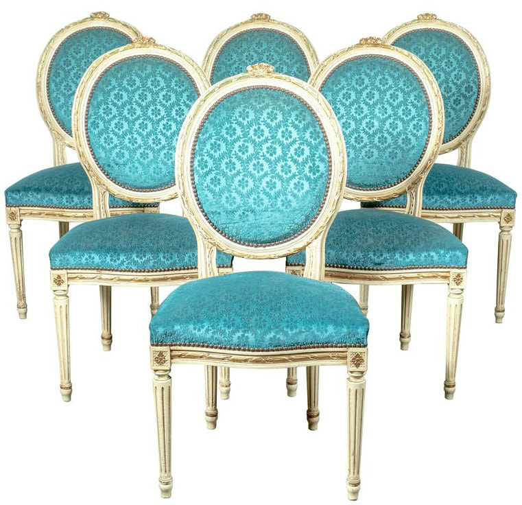 Lolo French Antiques Set of Six French Louis XV Style Maison Jansen Parcel-Gilt and Painted Dining Side Chairs