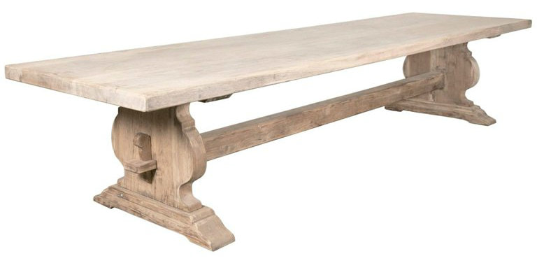 Lolo French Antiques Monumental Bleached Oak French Provencal Monastery  Trestle Table