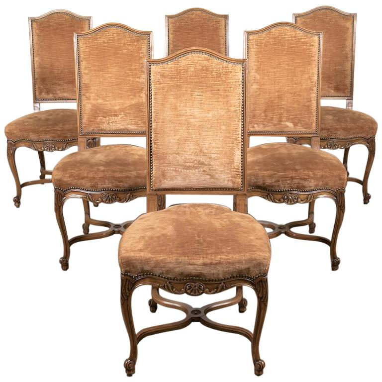 Lolo French Antiques Set of Six French Louis XV Style Carved Dining Side Chairs
