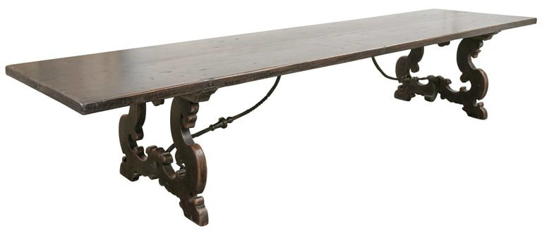 Lolo French Antiques Exceptional 13.5-Foot Walnut Italian Baroque Style Trestle Dining Table