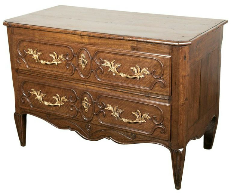 Lolo French Antiques 18th Century French Louis XV-Louis XVI Transition Period Walnut Commode