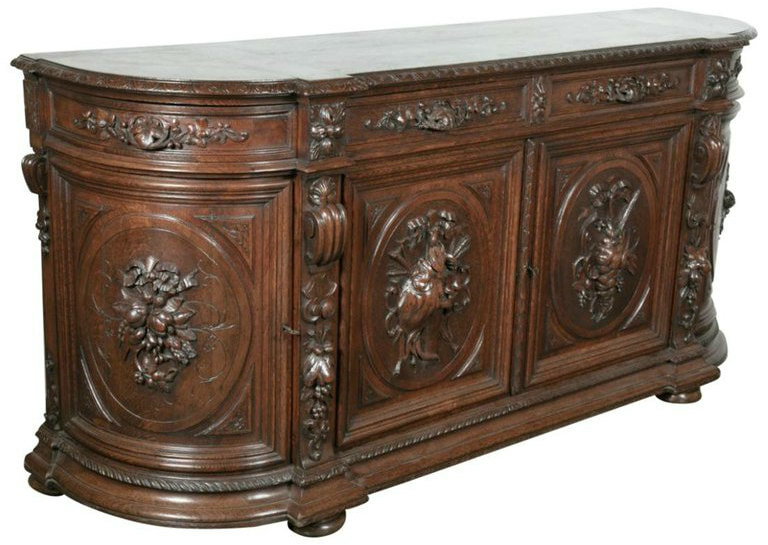 Lolo French Antiques Exceptional 19th Century Solid Oak Louis XIII Demilune Hunt Enfilade Buffet