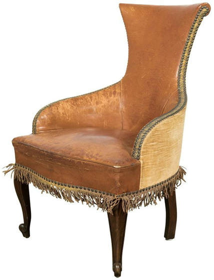 Lolo French Antiques Petite Antique French Louis XV Style Leather Bergere