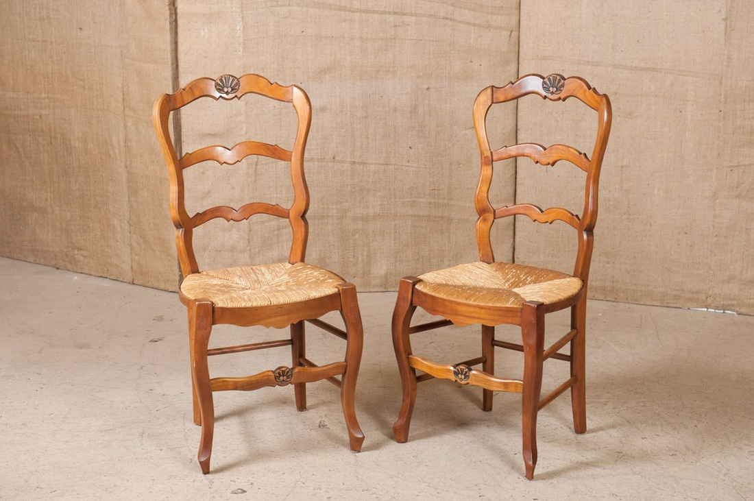 SET OF EIGHT COUNTRY FRENCH RUSH SEAT CHAIRS & LOLO FRENCH ANTIQUES SET OF EIGHT COUNTRY FRENCH RUSH SEAT CHAIRS ...