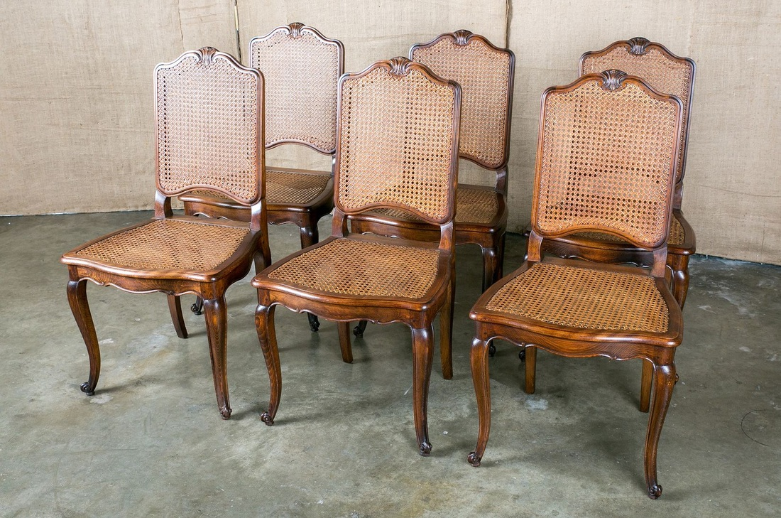 LOLO FRENCH ANTIQUES FRENCH LOUIS XV STYLE CANE DINING ...