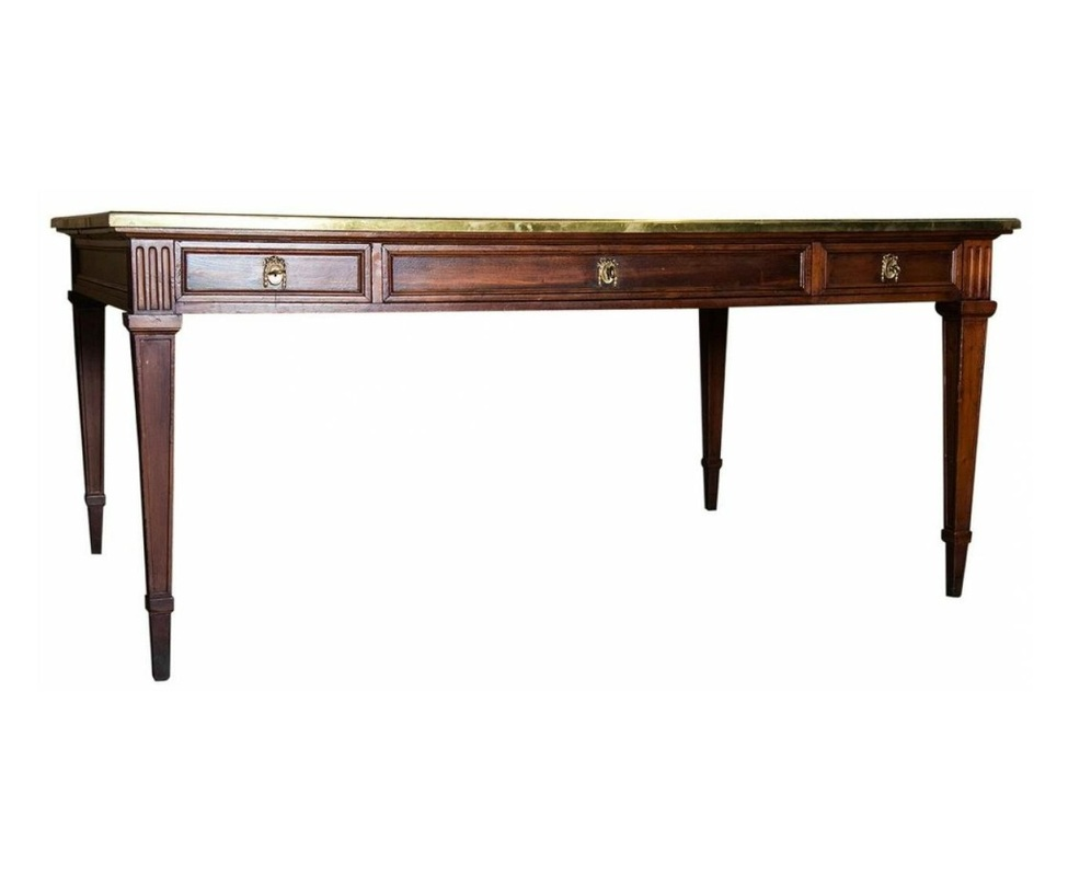 Lolo French Antiques Antique Grand Louis Xvi Style Walnut And Brass Partner S Desk Et More