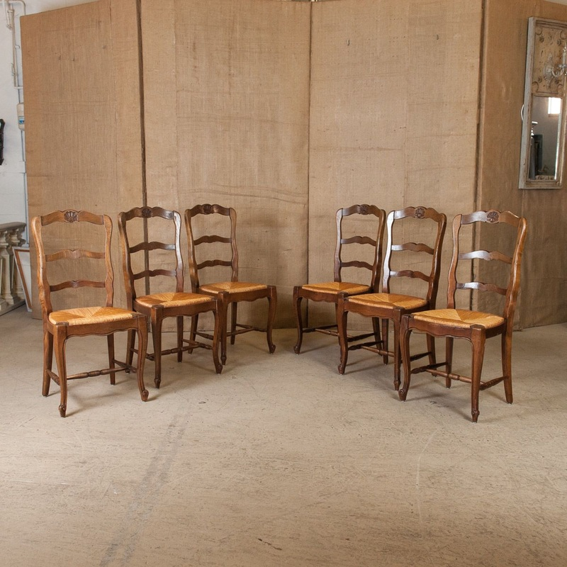 LOLO FRENCH ANTIQUES SET OF SIX COUNTRY FRENCH RUSH SEAT CHAIRS   Lolo  French Antiques Et More