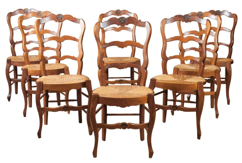 Lolo French Antiques Set Of Eight Country French Rush Seat