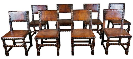 FRENCH RENAISSANCE REVIVAL STYLE LEATHER DINING CHAIRS BY MAISON GOUFFÉ,  PARIS, - LOLO FRENCH ANTIQUES FRENCH RENAISSANCE REVIVAL STYLE LEATHER DINING