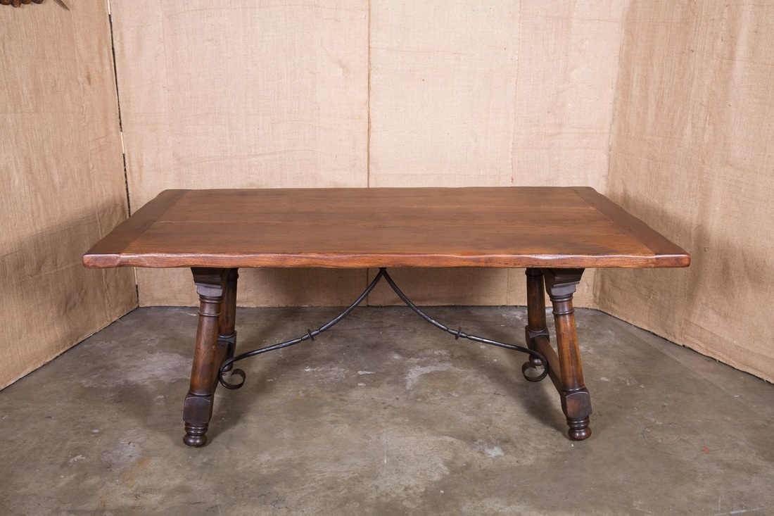 LOLO FRENCH ANTIQUES ANTIQUE SPANISH TRESTLE TABLE WITH IRON STRETCHER    Lolo French Antiques Et More