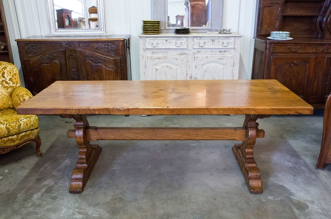 Merveilleux LOLO FRENCH ANTIQUES ANTIQUE FRENCH TRESTLE TABLE   Lolo French Antiques Et  More
