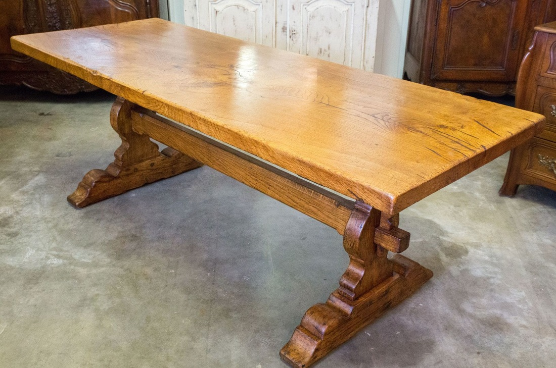 Ordinaire ANTIQUE FRENCH TRESTLE TABLE