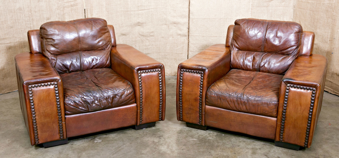 Merveilleux LOLO FRENCH ANTIQUES PAIR OF LARGE FRENCH LEATHER CLUB CHAIRS   Lolo French  Antiques Et More
