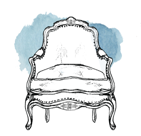 Bergere corbeille chair illustration