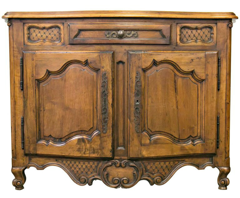 Lolo French Antiques Antique French 19th Century Louis XV Provencal hand carved solid walnut buffet