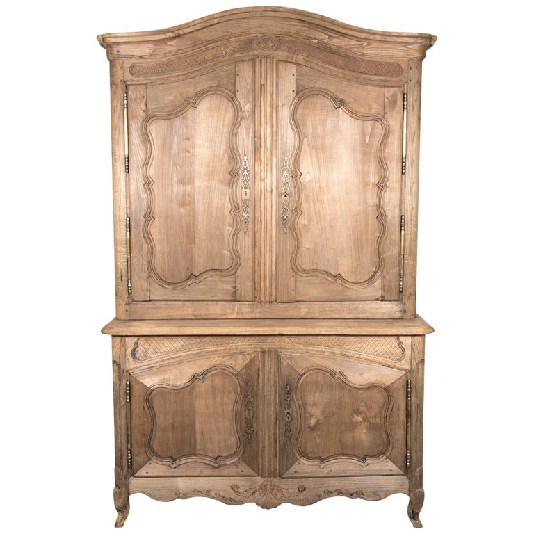 Lolo French Antiques 18th Century French Louis XV Style Washed or Bleached Oak Buffet Deux Corp