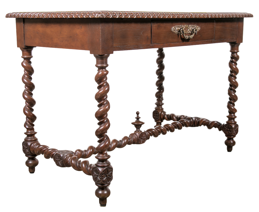 Lolo French Antiques 19th Century French Louis XIII Style Double Barley Twist Writing Table or Desk