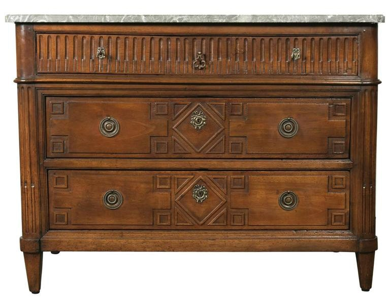 Lolo French Antiques 18th Century Period French Louis XVI Walnut Commode with Saint Anne Marble Top
