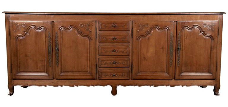 Lolo French Antiques Grand Early 19th Century French Country Louis XV Style Cherry Enfilade