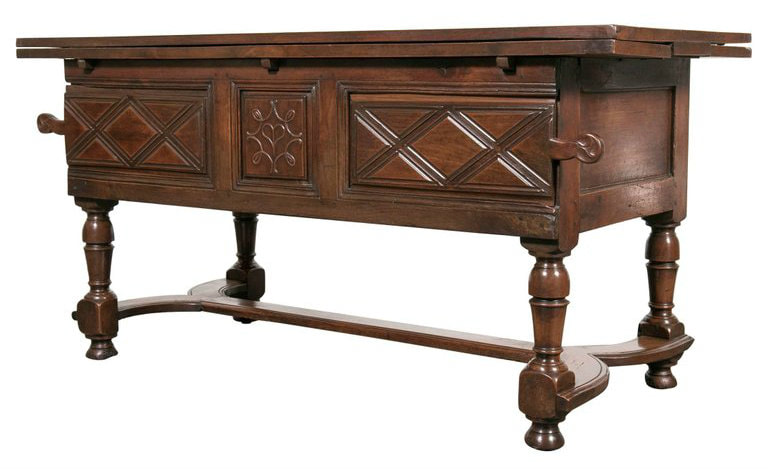 Lolo French Antiques 18th Century Solid Cherry Country French Draw Leaf Work or pantry Table