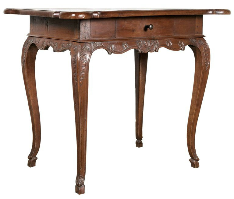 Lolo French Antiques 18th Century French Period Regence Hand-Carved Walnut Lyonnaise Side Table