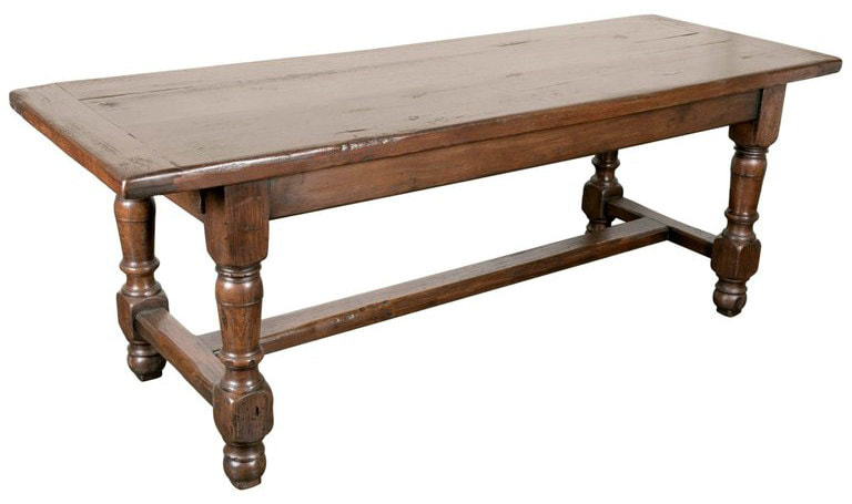 Lolo French Antiques 19th Century Solid Oak French Louis Philippe Farm Table