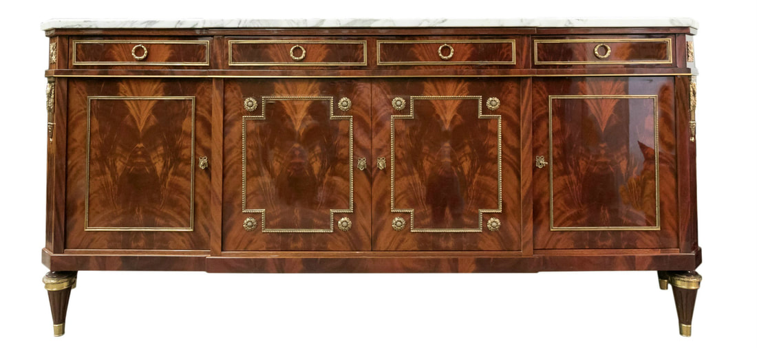 Lolo French Antiques EXCEPTIONAL MERCIER FRERES LOUIS XVI STYLE CUBAN FLAMED MAHOGANY ENFILADE BUFFET