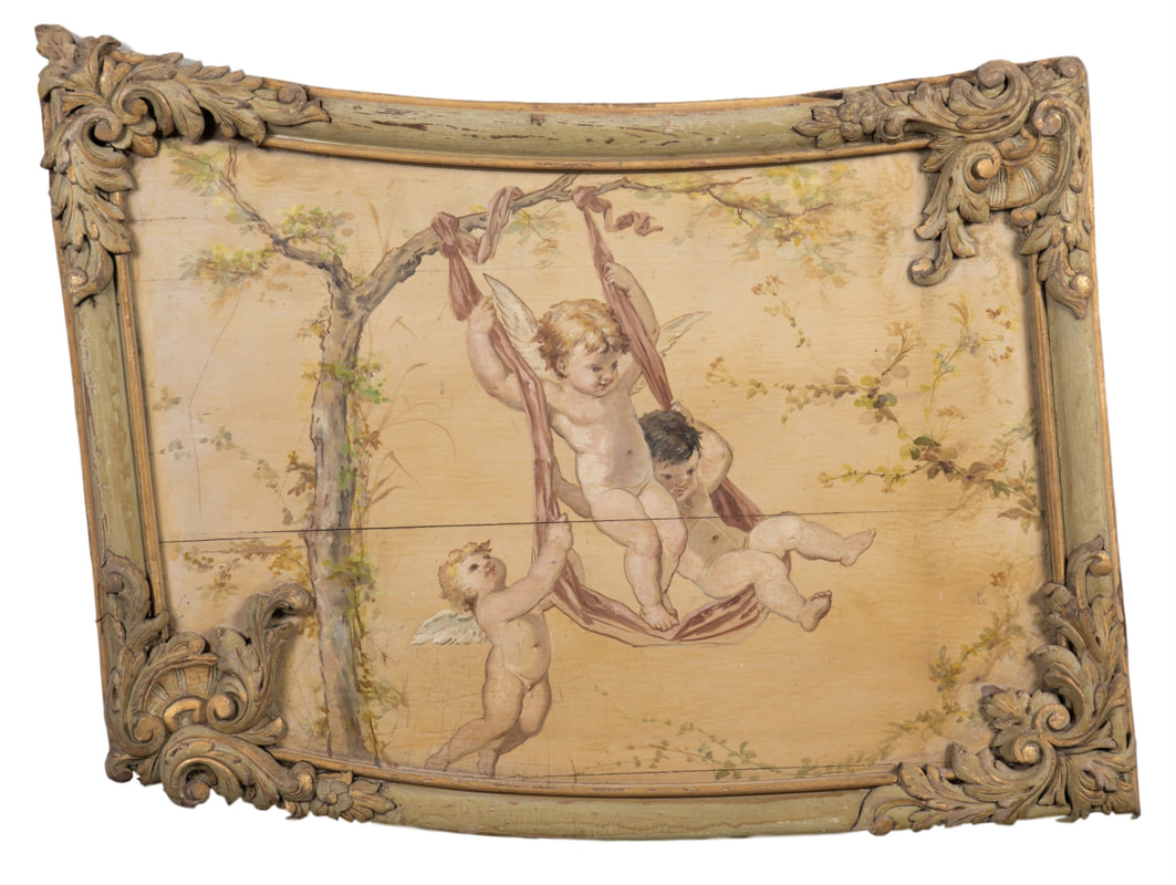 Lolo French Antiques 18th Century Louis XV Boiserie Panel with Oil Painting