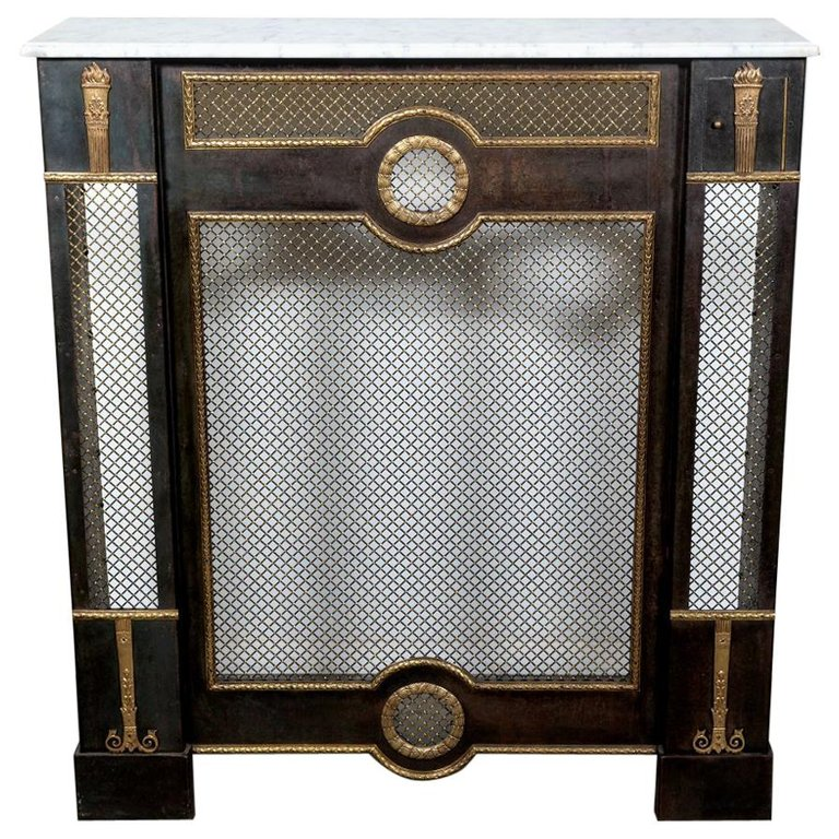 Lolo French Antiques French Louis XVI Style Wrought Iron Radiator Cover or Console with Marble Top