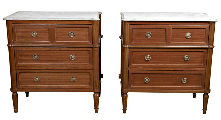 Lolo French Antiques Antique Pair of French Louis XVI Style marble top commodes or nightstands