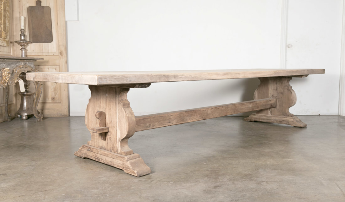 LOLO FRENCH ANTIQUES MONUMENTAL BLEACHED OAK FRENCH PROVENCAL MONASTERY  TRESTLE TABLE   Lolo French Antiques Et More
