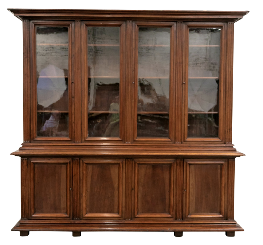 Lolo French Antiques Grand 19th Century French Napoleon III Period Walnut Bibliotheque or Bookcase