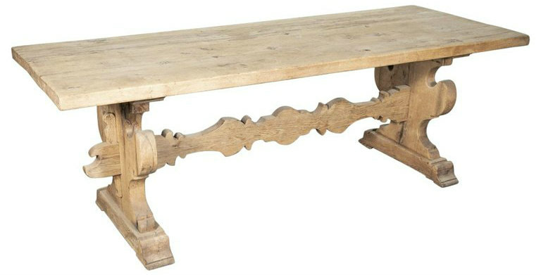 Lolo French Antiques 19th Century Italian Baroque Style Bleached Tuscany Trestle Farm Table