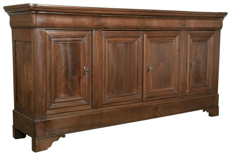 Lolo French Antiques Antique French Louis Philippe Enfilade Buffet with Bookmatched Front