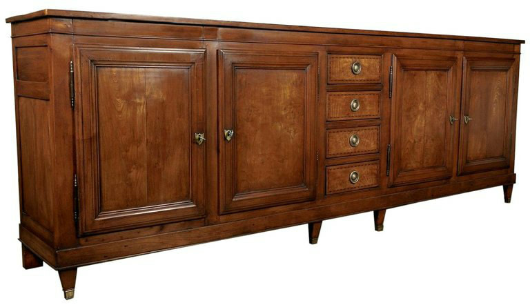 Lolo French Antiques Grand 18th Century French Louis XVI Period Enfilade Buffet with Fruitwood Inlay