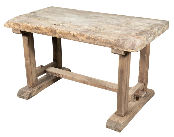 Lolo French Antiques Early 19th Century Primitive ProvencalL Washed Oak Trestle Base Etabli or Side Tableh