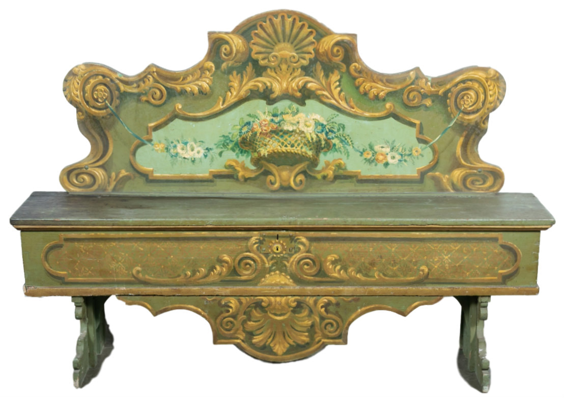 Lolo French Antiques 19th Century Italian Baroque Polychrome Cassapanca Wood Storage Hall Bench