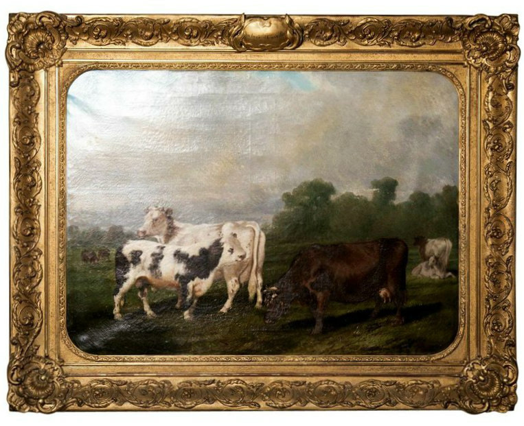 Lolo French Antiques Early 19th Century Framed Cow Painting,