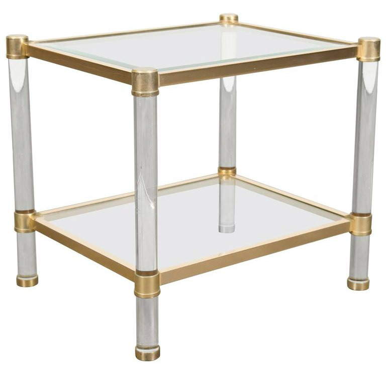 Lolo French Antiques French rectangular lucite and brass side table