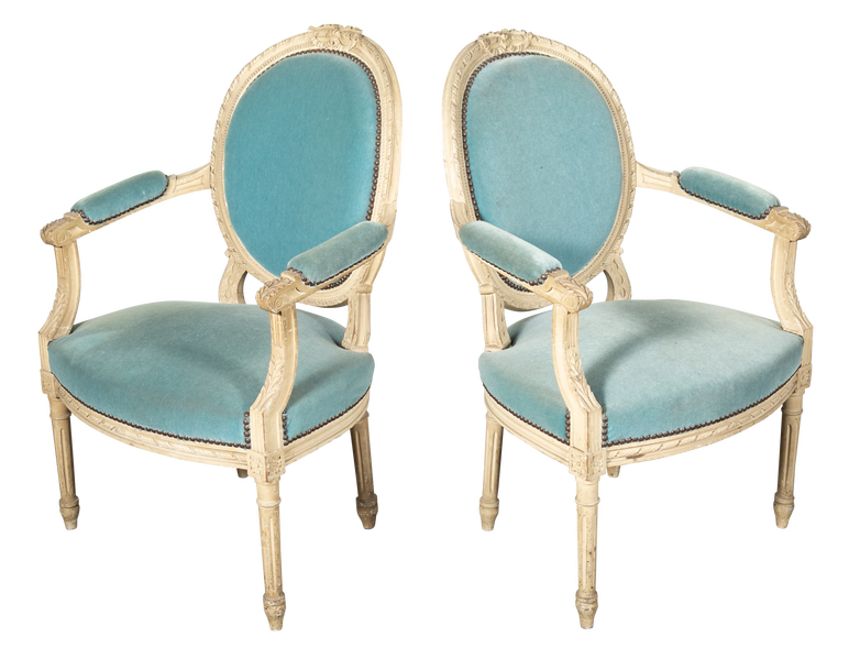 Lolo French Antiques Pair of Louis XVI Style Painted Armchairs