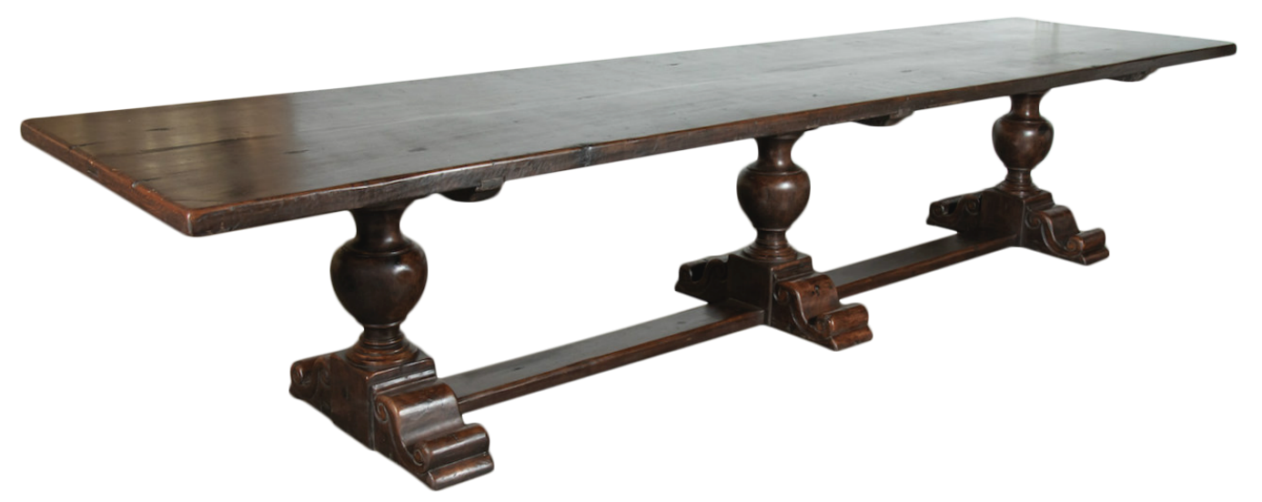 Lolo French Antiques Exceptional 19th Century Solid Walnut Louis XIII Style Chateau Trestle Table